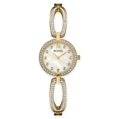 Bulova Classic 26mm Crystal-Accent Mother of Pearl Open Bracelet Watch in Goldtone Stainless Steel