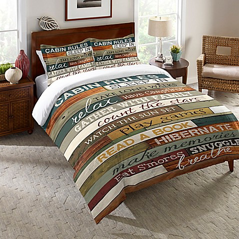 Laural Home 174 Cabin Rules Comforter In Brown Bed Bath