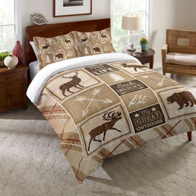 Laural Home® Country Cabin Twin Comforter in Brown