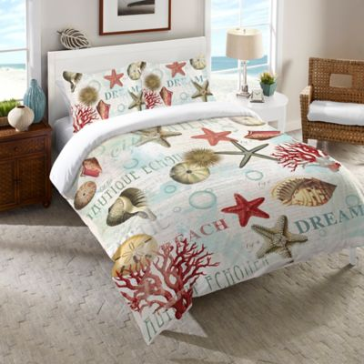 Laural Home® Dream Beach Shells Queen Comforter in Red