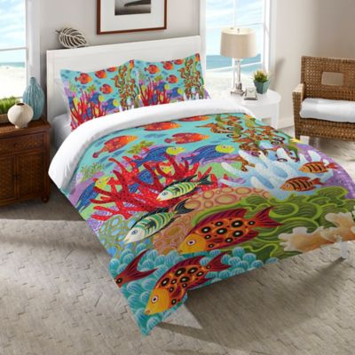 Laural Home® Fish in the Hood Queen Comforter in Teal