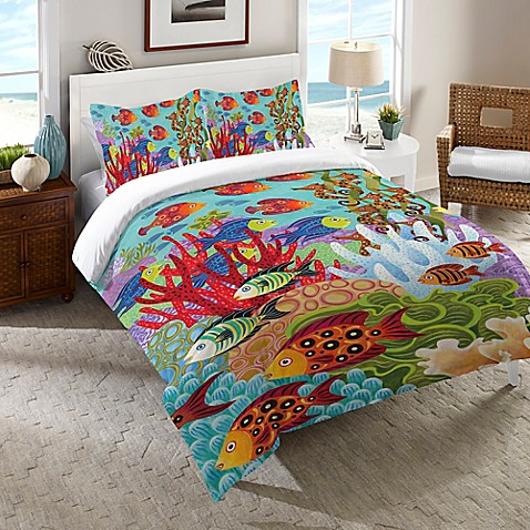 Buy laural home fish in the hood twin comforter in teal for Fish bedding twin