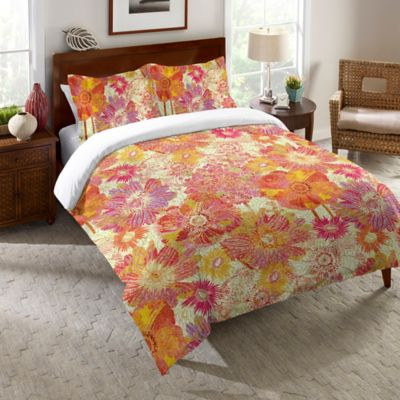 Laural Home® Full Bloom Queen Comforter in Orange