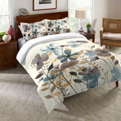 Laural Home® Greige Florals Reversible Queen Comforter in Blue/Grey