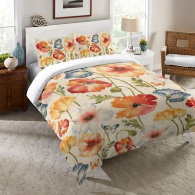Laural Home® Watercolor Poppies Queen Comforter in Orange