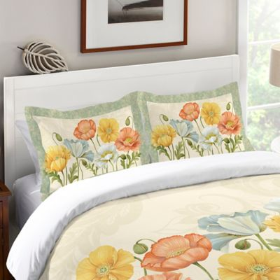 Laural Home® Pastel Poppies Standard Pillow Sham in Green