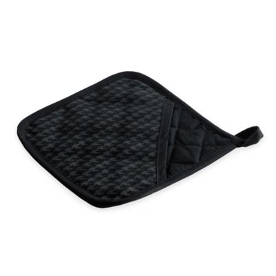 Silicone Printed Herringbone Design Pot Holder in Black