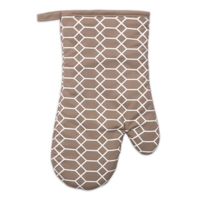 Silicone Printed Links Design Oven Mitt in Beige