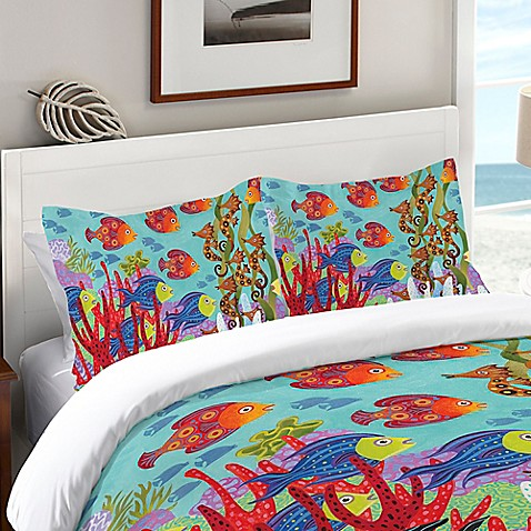 Laural home fish in the hood standard pillow sham in teal for Closest fish store