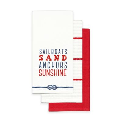 Sailboats and Sand 100% Cotton Towels (Set of 3)