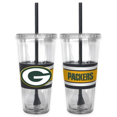 NFL Green Bay Packers Double Wall Hype 22 oz. Tumbler with Lid & Straw