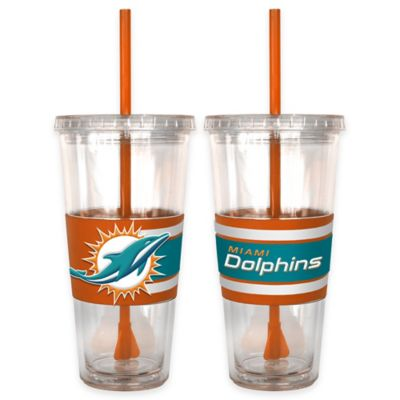 NFL Miami Dolphins Double Wall Hype 22 oz. Tumbler with Lid & Straw