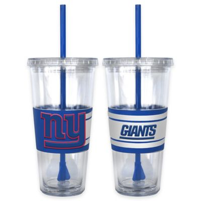 NFL New York Giants Double Wall Hype 22 oz. Tumbler with Lid & Straw