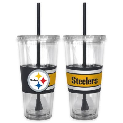 NFL Pittsburgh Steelers Double Wall Hype 22 oz. Tumbler with Lid & Straw