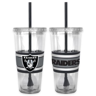 NFL Oakland Raiders Double Wall Hype 22 oz. Tumbler with Lid & Straw