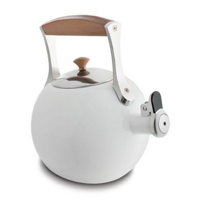 Nambe Meridian 2 qt. Enamel on Steel Tea Kettle in White