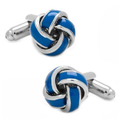 Silver-Plated Blue Love Knot Cufflinks
