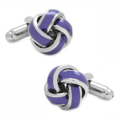 Silver-Plated Lavender Love Knot Cufflinks