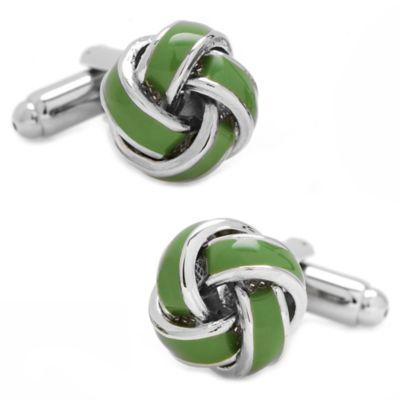 Silver-Plated Green Love Knot Cufflinks