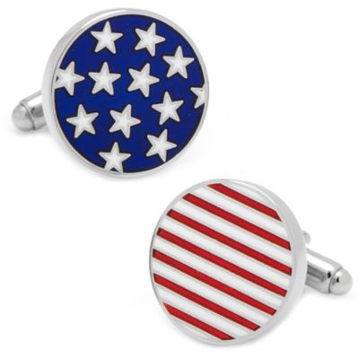 Silver-Plated Round Stars and Stripes Cufflinks