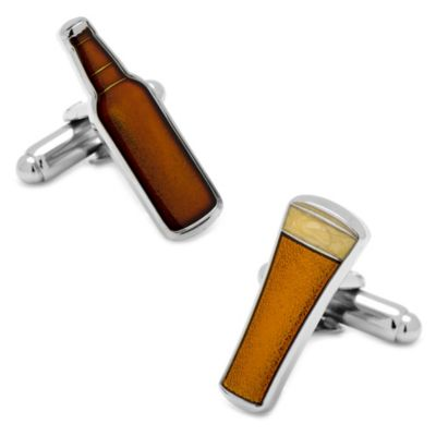 Silver-Plated Beer Glass and Bottle Cufflinks