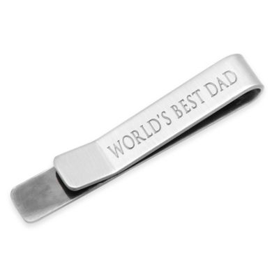 Antique Silver-Plated World's Best Dad Hidden Message Tie Bar