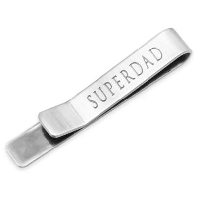 Antique Silver-Plated Super Dad Hidden Message Tie Bar