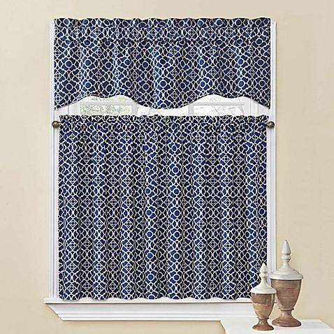 Waverly Lovely Lattice Kitchen Window Curtain Tiers And Valance Bed Bath Beyond