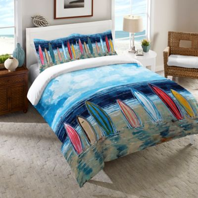Laural Home® Surfboards Queen Comforter in Blue