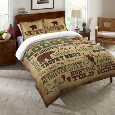 Laural Home® Welcome to the Lodge Queen Comforter in Brown