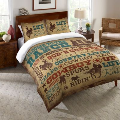 Laural Home® Welcome to the Ranch Queen Comforter in Brown