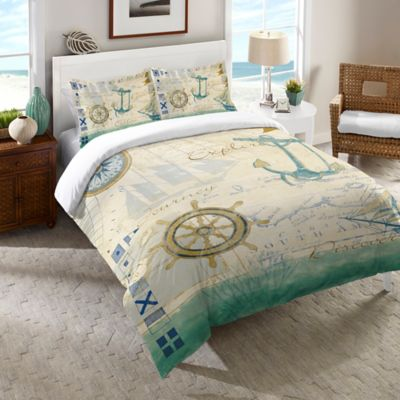 Laural Home® Mariner Sentiment Queen Comforter in Blue
