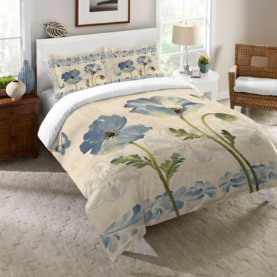 Laural Home® Indigo Watercolor Poppies Queen Comforter in Blue