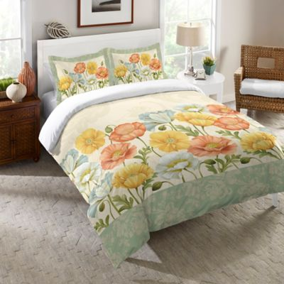 Laural Home® Pastel Poppies Queen Comforter in Green