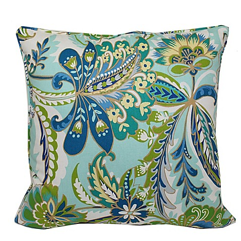 Jacobean Square Throw Pillow in Blue - Bed Bath & Beyond