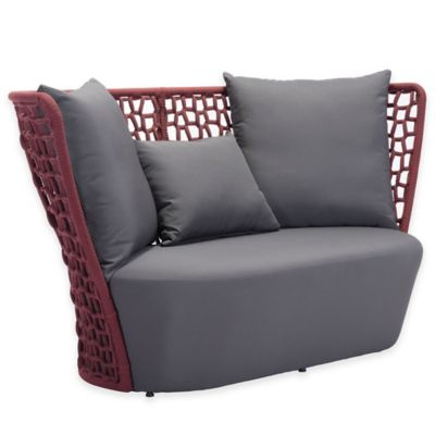 Zuo® Faye Bay Beach Outdoor Sofa in Red/Grey