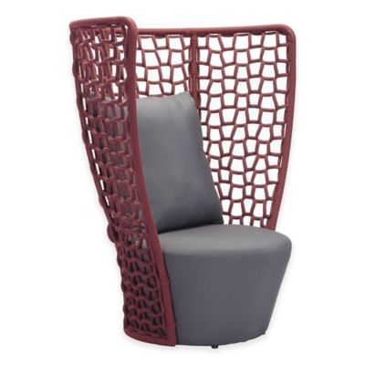 Zuo® Faye Bay Beach Outdoor Chair in Red/Grey