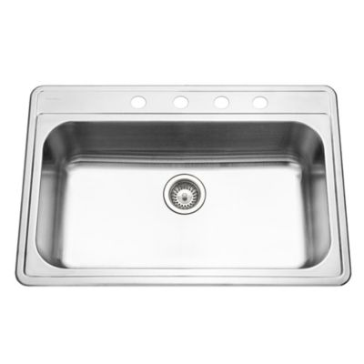 Houzer Premiere Gourmet Series PGS-3122-4-1 Topmount Single Bowl Kitchen Sink