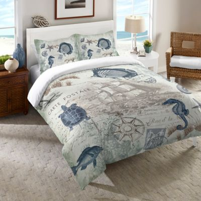 Laural Home® Seaside Postcard Queen Comforter in Blue