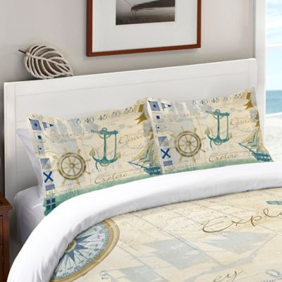 Laural Home® Mariner Sentiment Standard Pillow Sham in Blue