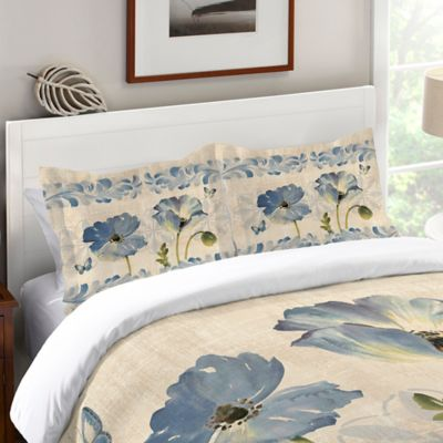 Laural Home® Indigo Watercolor Poppies Standard Pillow Sham in Blue