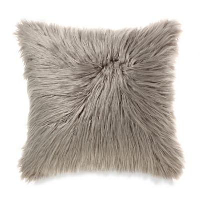 Mongolian Faux Fur Throw Pillow in Grey
