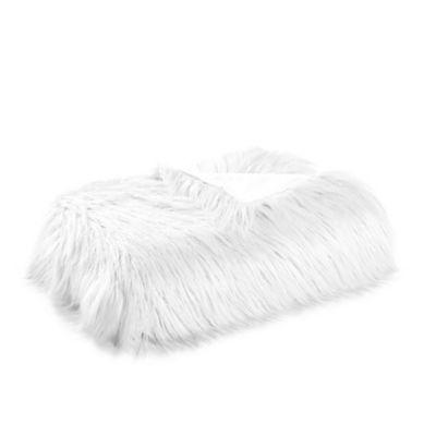 Mongolian Faux Fur Throw Blanket in Cream