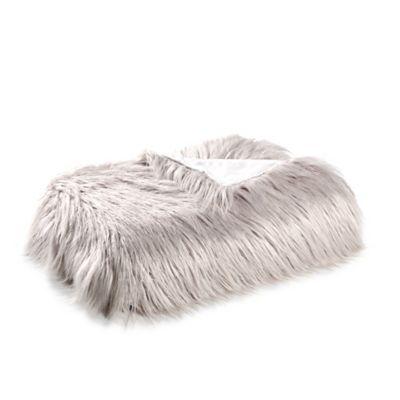 Mongolian Faux Fur Throw Blanket in Grey