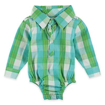 Rockin' Baby Out of Africa Newborn Oliver Checked Woven Long Sleeve Bodysuit in Green/Blue