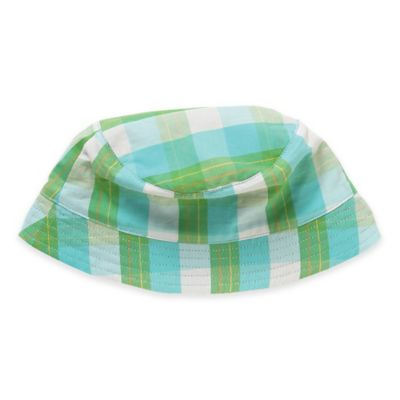 Rockin' Baby Out of Africa Newborn Reversible Sun Hat in Green and Blue Plaid/Navy