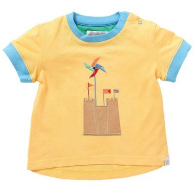 Rockin' Baby Newborn Seaside Sandcastle Applique T-Shirt in Yellow
