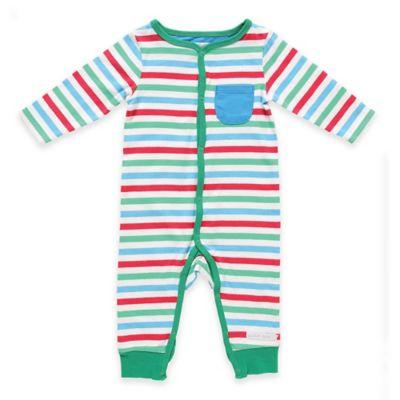 Rockin' Baby Seaside Newborn Multi Stripe Long Sleeve Romper in White/Green/Blue/Red