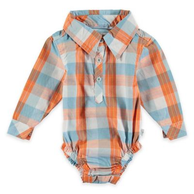 Rockin' Baby Out of Africa Newborn Oliver Checked Woven Long Sleeve Bodysuit in Orange/Blue