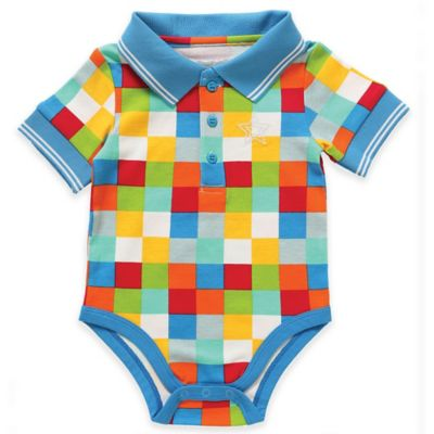 Rockin' Baby Seaside Newborn Multi Square Polo Bodysuit